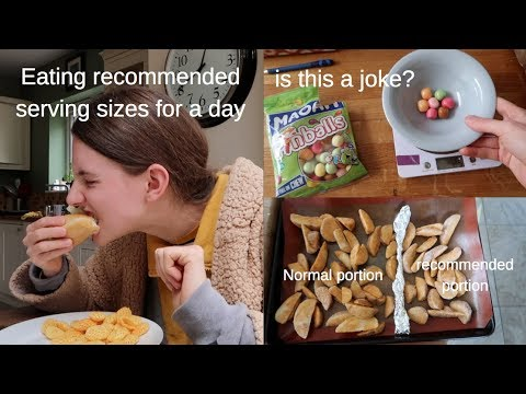 Eating recommended serving sizes for a day