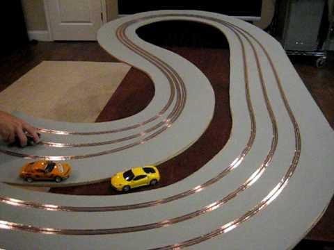 wood slot car track with magnetic primer