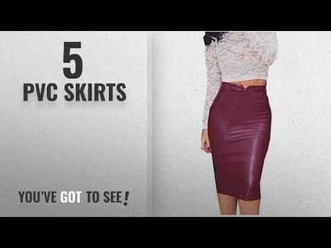 Top 10 Pvc Skirts [2018]: Koly Women's Faux Leather Bodycon Stretch Skirt High Waist Slim Party