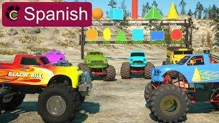 Aprende sobre figuras 2D, 3D y camiones monstruo - JUGUETES - Learn Shapes (SPANISH)