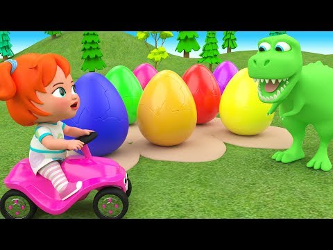 Little Baby Girl Fun Learning Colors for Children with Color Eggs Dinosaur Cartoons 3D Kids Edu Play (видео)