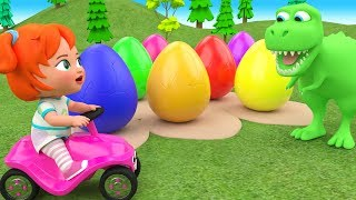 Download Video Little Baby Girl Fun Learning Colors for Children with Color Eggs Dinosaur Cartoons 3D Kids Edu Play MP3 3GP MP4