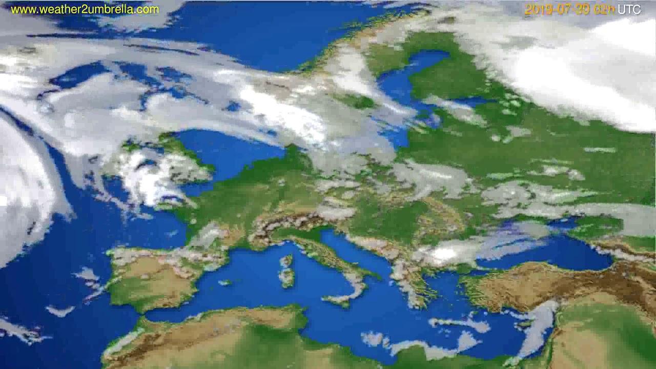 Cloud forecast Europe // modelrun: 00h UTC 2019-07-28