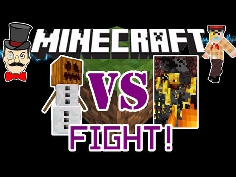 Minecraft BLAZES vs SNOW GOLEMS Mob Battle ! Fireballs VS Snowballs !
