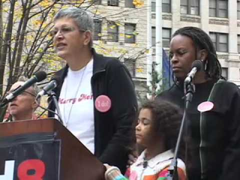 Cathy Marino-Thomas speaks at Join Impact Prop 8 Rally NYC