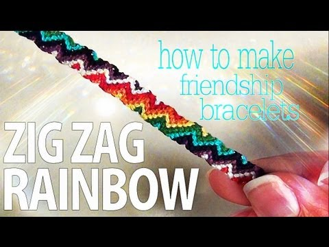 How to Make Friendship Bracelets ♥ Zig Zag Rainbow