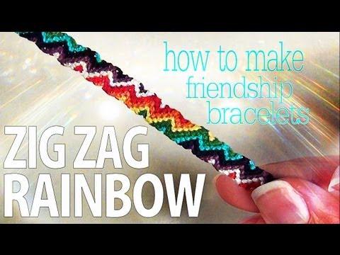 How to Make Friendship Bracelets ♥ Zig Zag Rainbow