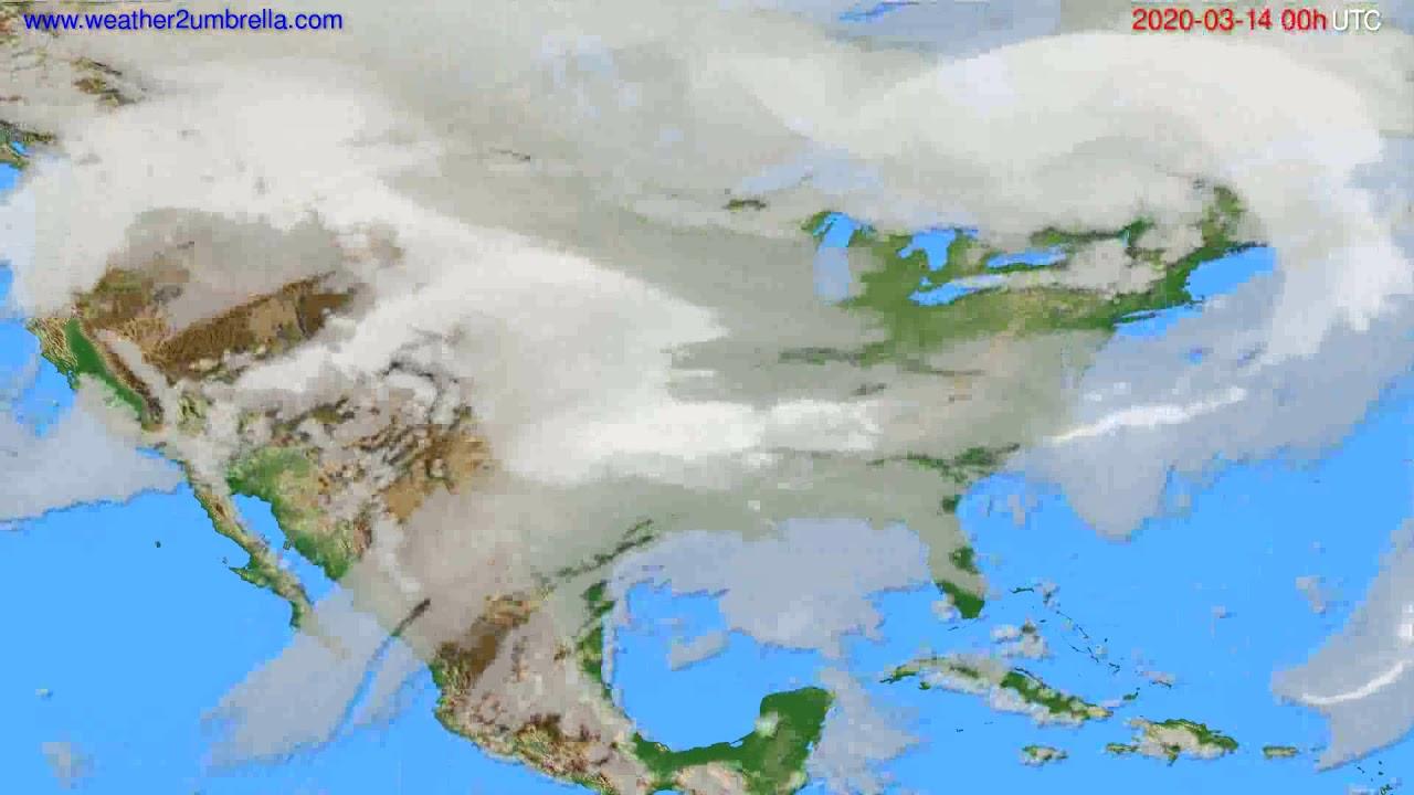 Cloud forecast USA & Canada // modelrun: 00h UTC 2020-03-13