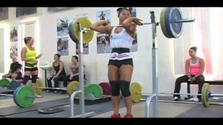 Daily Training 10-14-12 - Weightlifting training footage of Catalyst weightlifters. Alyssa snatch deadlift + snatch, Steve power jerk, Audra snatch pull, Dawn snatch pull, Chyna front squat, Alyssa snatch high pull, Dawn snatch high pull, Audra back squat, Alyssa fro
