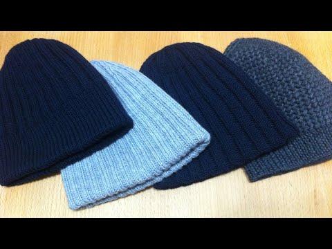 Обзор вязаных шапок / Мужские шапки / Шапки спицами   knitting hat review видео