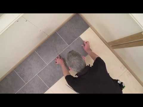 Karndean How To Series...Cutting and fitting a tile with design strips to a wall - Gluedown