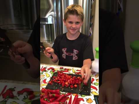 Junior Chef Henry Making A Batch Of Hot Sauce
