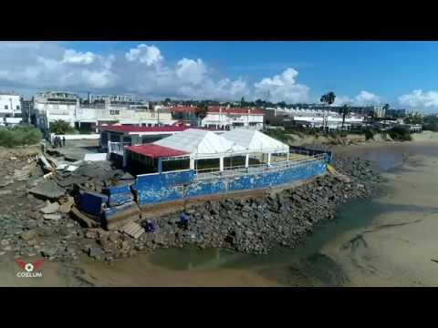 Daños del temporal en Isla Cristina visto desde el aire