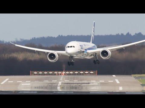 Dangerous Crosswind Landings during a Storm at Düsseldorf - Multiple Aborted Landings