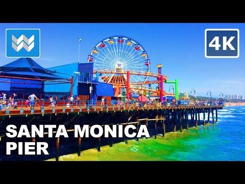 Walking tour of Santa Monica Pier in Los Angeles, California Travel Guide【4K】