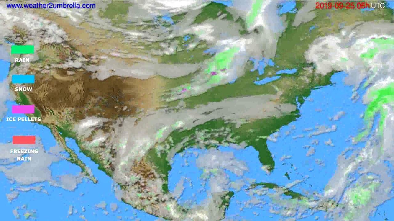 Precipitation forecast USA & Canada // modelrun: 12h UTC 2019-09-22
