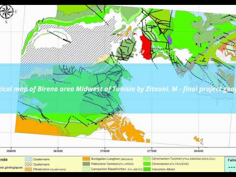 geological map of Bireno area Midwest of Tunisia by Zitouni. M