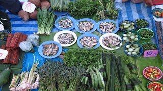 Thai , Village Food Market in The Evening At Nakhonphanom , Thai Market 2017.