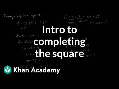 Completing The Square Video Khan Academy