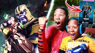 9 YEAR OLD BROTHER PLAYS AS THANOS In FORTNITE (INFINITY GAUNTLET)