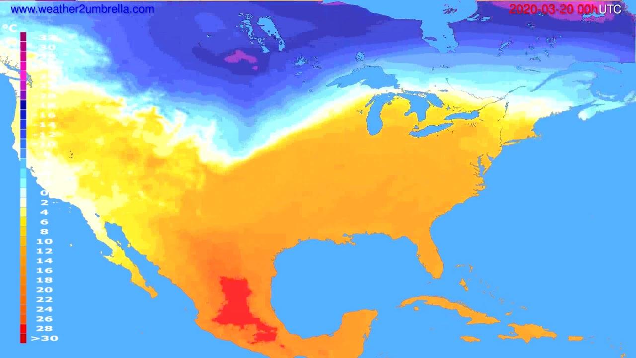 Temperature forecast USA & Canada // modelrun: 00h UTC 2020-03-19