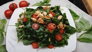 10 Numara Mutfak'ta bugün çok pratik ve lezzetli bir salata tarifimiz var. Malzemeler:-1 paket körpe ıspanak (mini ıspanak diye de bulabilirsiniz)-8-10 adet cherry domates-50 gr ceviz içi-100 gr izmir tulum peyniri-Zeytinyağı, nar ekşisi-Tuz, karabiber