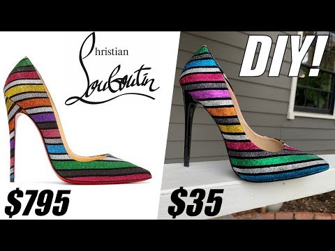 DIY: How To Make Christian Louboutin Rainbow GLITTER Heels!! - By Orly Shani