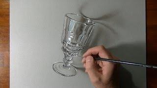 まさに神業!!本物にしか見えないリアルなグラスを描く【動画】が凄すぎると話題に!