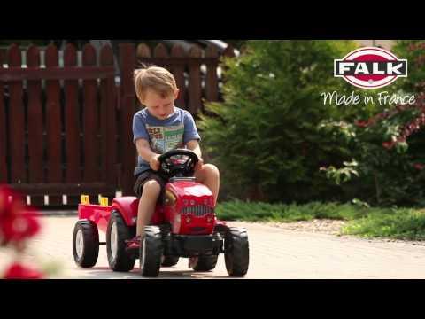 Czerwony traktor na pedały Farm Mustang + przyczepa 1060B