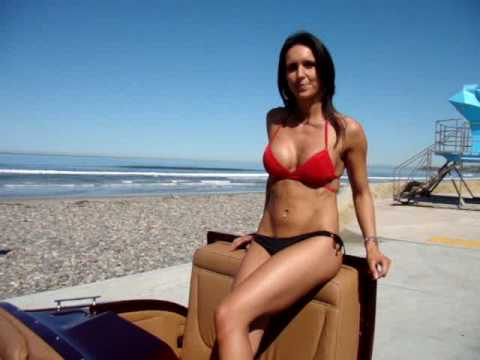 Swimsuit Bikini Model Jessica with a Ford Hot Rod | Cardiff State Beach Encinitas