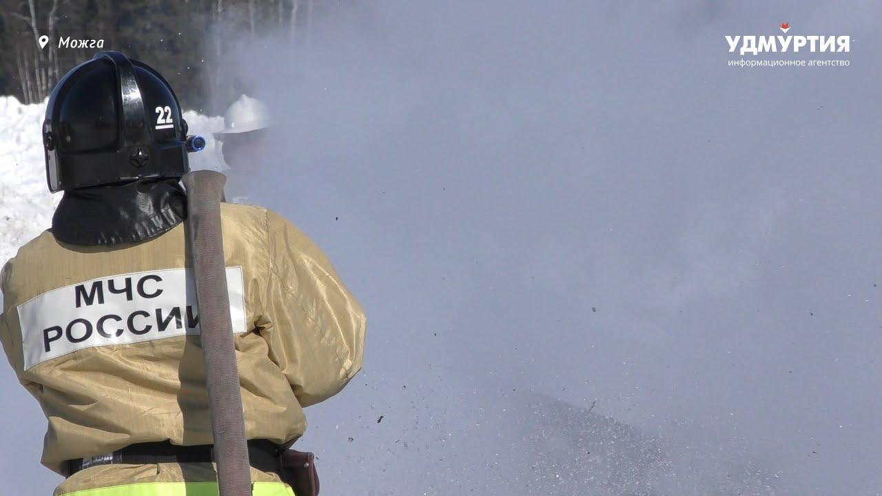 Учения по тушению лесного пожара в Можге