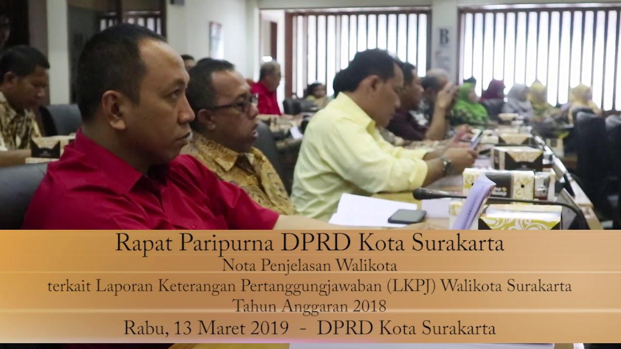 Rabu 13 Maret 2019 Paripurna LKPJ Nolas Walikota