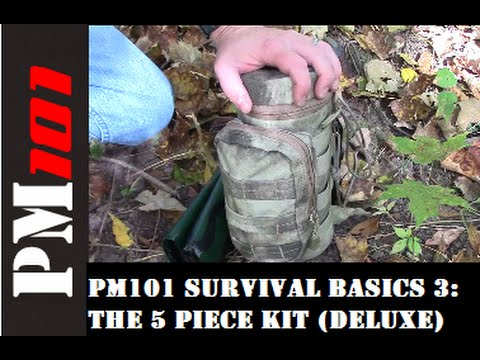 Basics - Preparedmind101 continues the Survival Basics series with an explanation of the 5 Piece Kit (popularized by Dave Canterbury) and how one might be set up as a deluxe stand alone kit. DAVE C's...