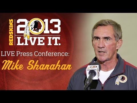 press - Redskins Head Coach Mike Shanahan talks to the media following practice at Redskins Park in Loudoun County, Va. on Wednesday, December 11, 2013.
