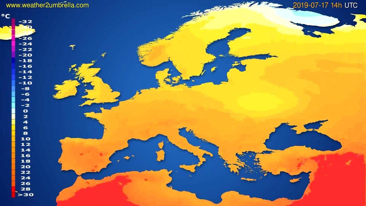Temperature forecast Europe // modelrun: 00h UTC 2019-07-15