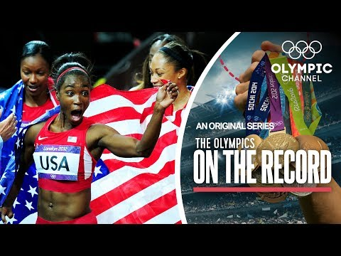USA breaks 4x100M Women's Records In London 2012 | The Olympics On The Record (видео)