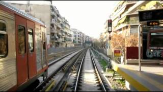 Greece metro cab ride. Athens, line 1.
