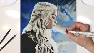 Colored Pencils Drawing of Emilia Clarke as Daenerys Targaryen, One of the most loved Character from the TV Series Game of...