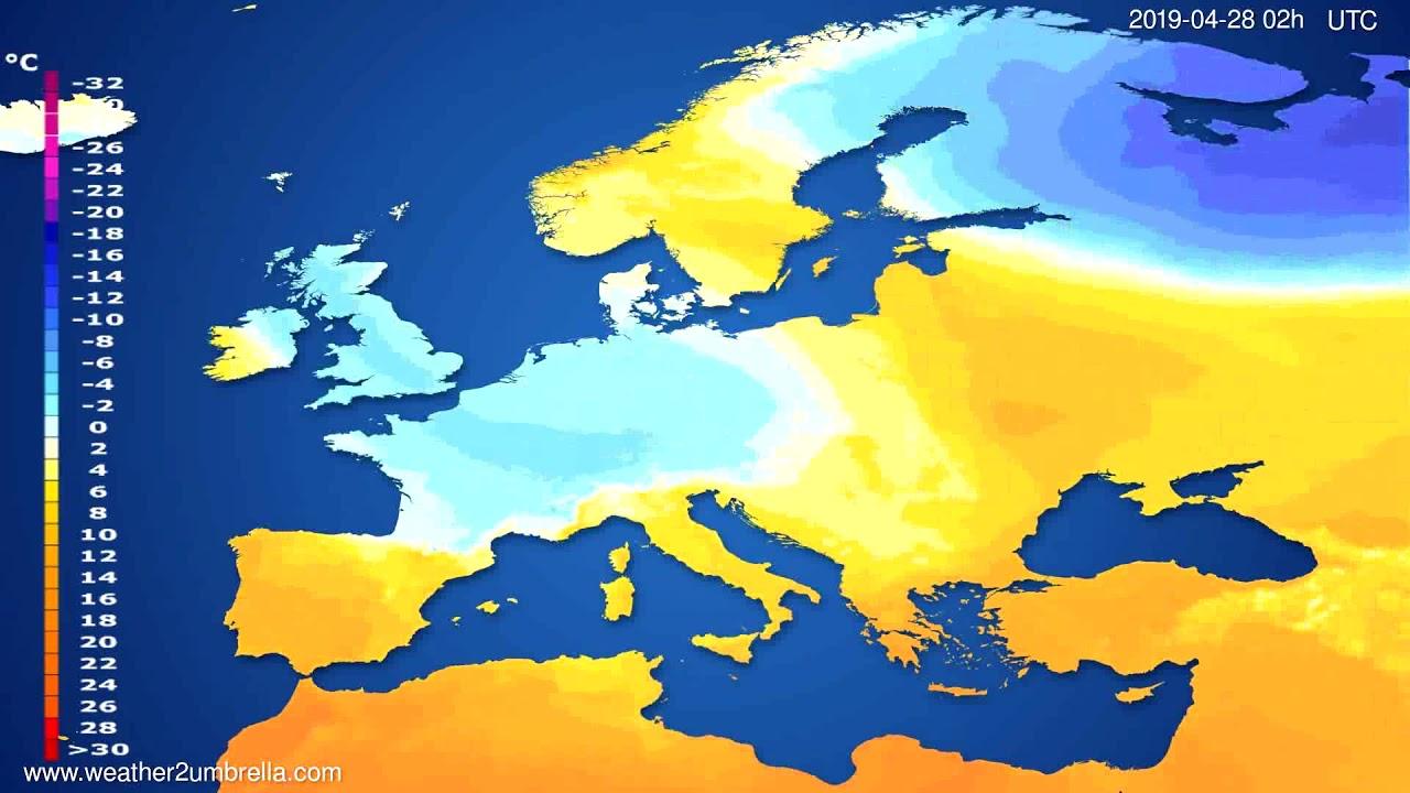 Temperature forecast Europe // modelrun: 12h UTC 2019-04-25