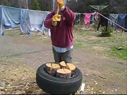 tire - great769 shows you how to split wood quicker and easier then ever before . This method works with most types of wood, I've split maple , Birch, spruce and fi...