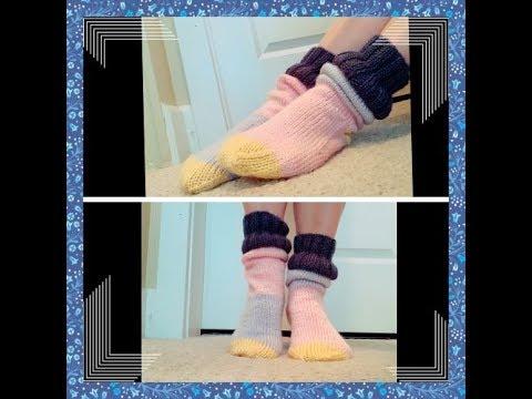 DIY KNIT Winter Log Cabin Vacation Loose Socks [Magic Loop & Kitchener St]