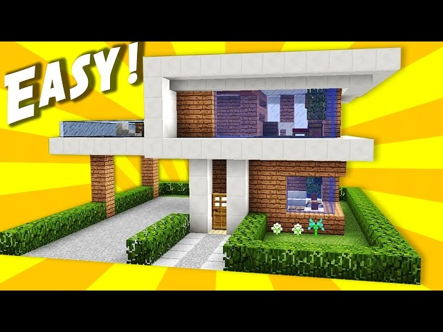 Minecraft simple easy modern house mansion tutorial how to for Casa moderna bloxburg