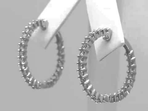 14K Women's White Gold Diamond Hoop Earrings 2.5 CT