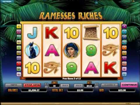 Ramesses Riches Slots with 12 Free Spins and x4 Gamble Wins