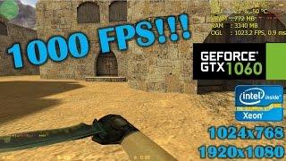 GTX 1060   Counter Strike 1.6 - 1024x768, 1080p, 1000 FPS lol