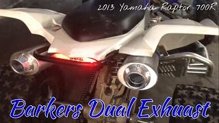 8. Barker's Dual Exhaust | 2013 Yamaha Raptor 700R | First Start Up