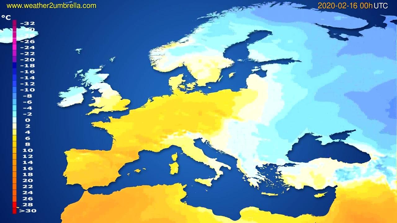 Temperature forecast Europe // modelrun: 00h UTC 2020-02-15