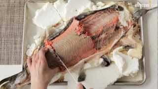Salmon baked in salt