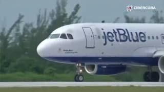 Aterrizaje en Santa Clara del  histórico vuelo de JetBlue