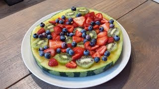 Tutti Frutti Watermelon Pizza / Made With Rare & Exotic Yellow African  Watermelon / Refreshing summer ideas!Please watch this very short video for step by step instructions.All you need is a sliced watermelon & fresh fruit of your choice.